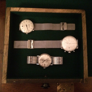Watch Box 5 Drawer 4: mix (t-b) Meistersinger Neo Junghans Chronoscope Max Bill Omega Seamster