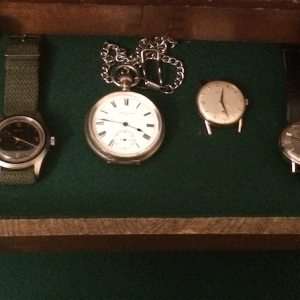 Watch Box 6 Drawer 5: mix Brew HP-1 Baltic HMS-001 Blue Gilt Elgin silver pocket watch Zenith big face Enicar Sherpa My grandpa's old Stivaro watch